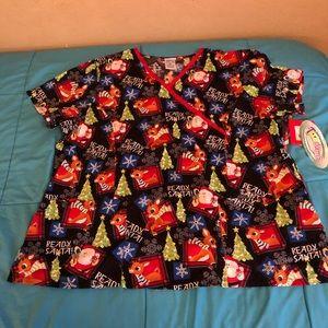 """Women's scrubs 3XL """"Rudolf red nose reindeer"""""""